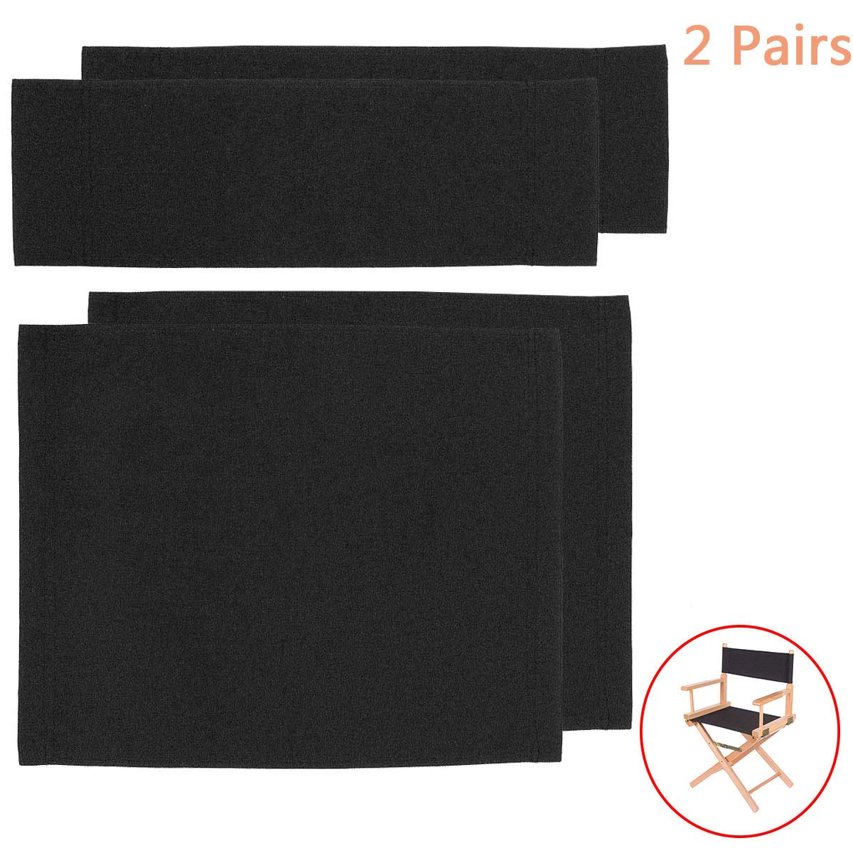 2 Set Replacement Cover Canvas for Directors Chair, Black by MYXC