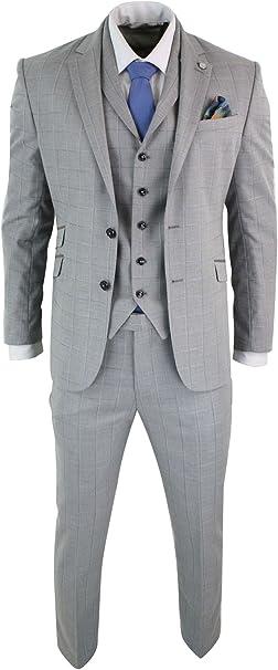 Amazon.com: SIMON Templer para hombre 3 piezas Slim Fit gris ...