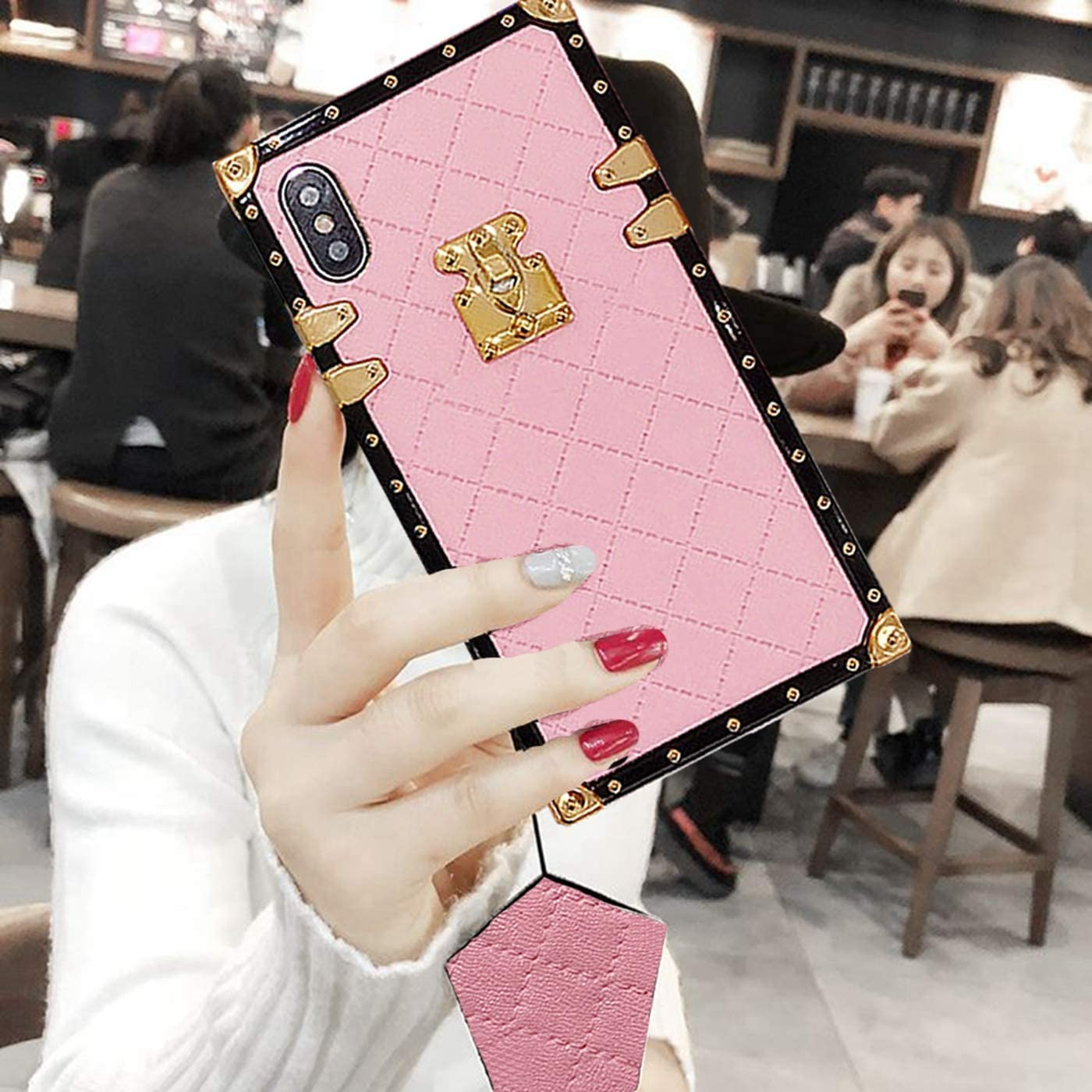 BABEMALL Compatible for iPhone 7 Plus /8 Plus Case, Elegant Diamond Luxury Metal Corner Square PU Leather Classic TPU Bumper Case + Lanyard (Small Cube/Pink)