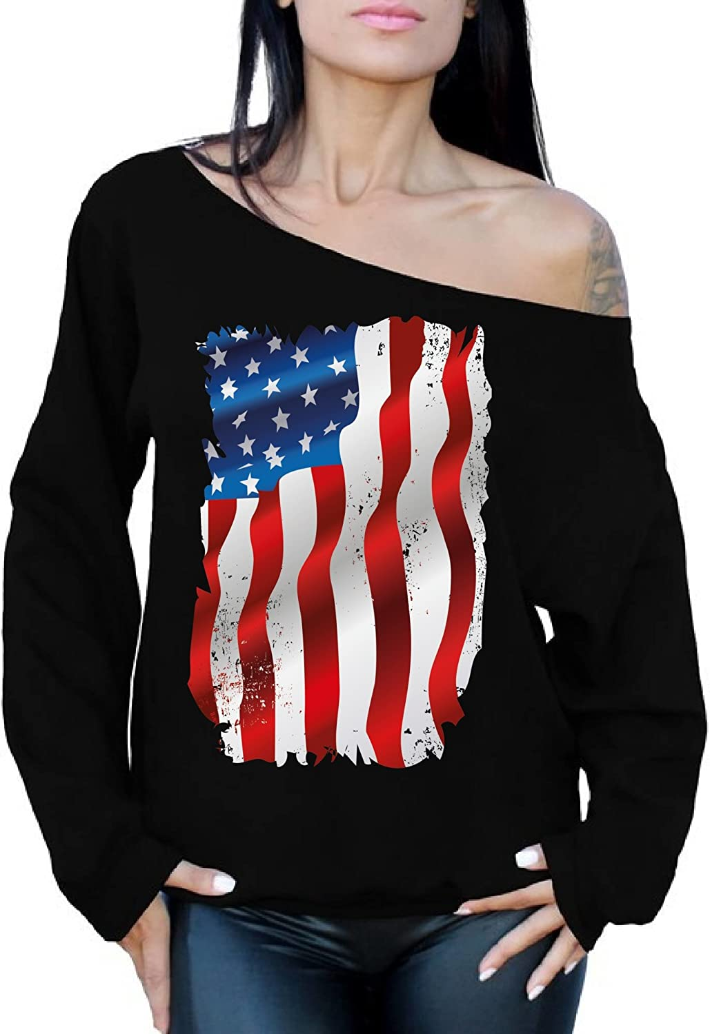 Awkward Styles Womens Love USA Flag Patriotic Off Shoulder Tops Sweatshirt Stars and Stripes 4th of July