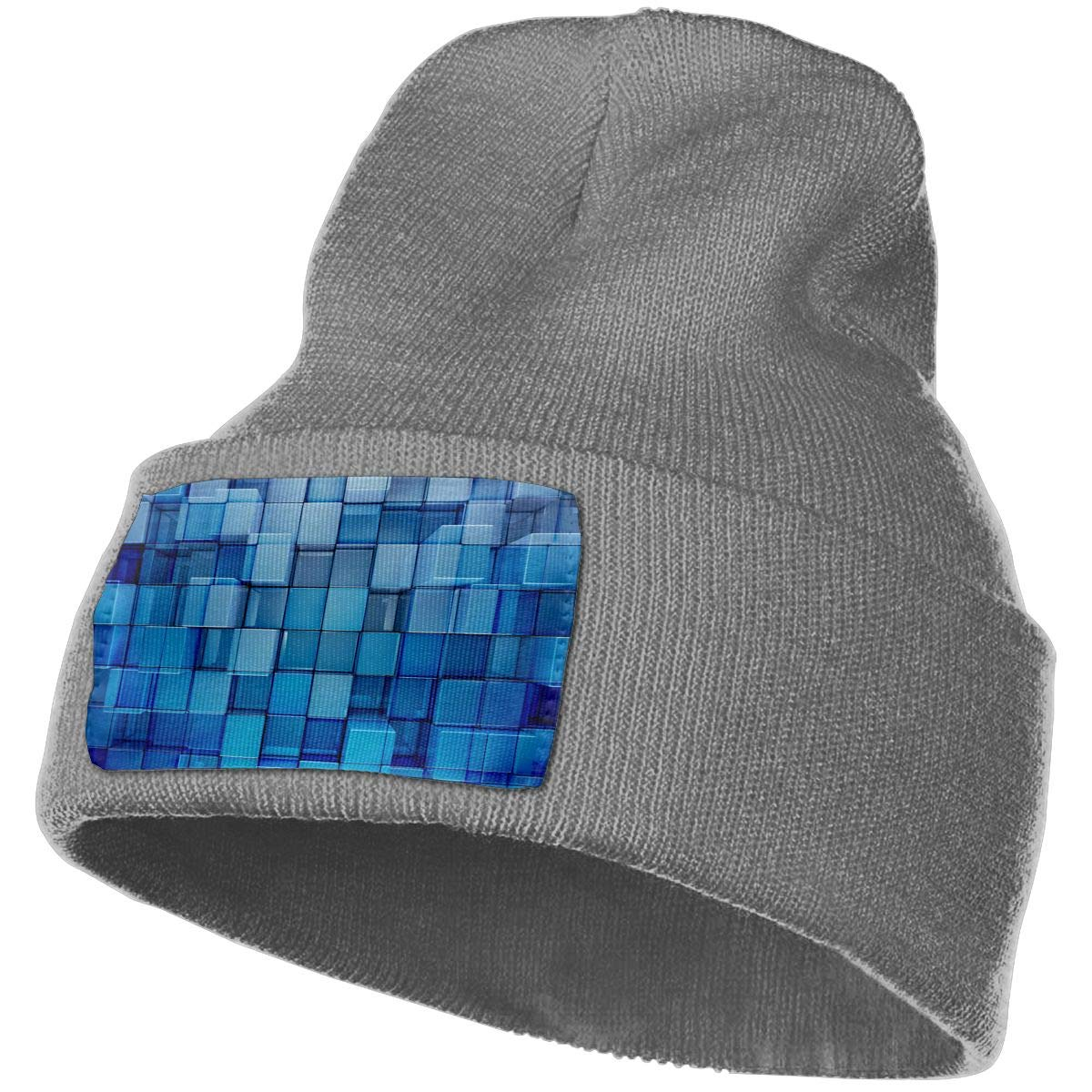Deep Heather Beanie Hats 3d Cubes Knit Hedging Cap Slouchy Winter Warm Skull Caps For Men Womens