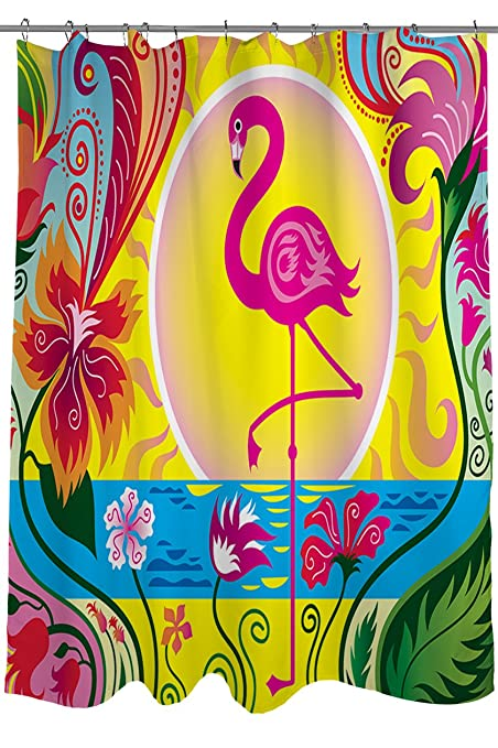 Thumbprintz Shower Curtain Flamingo Blossom Sun