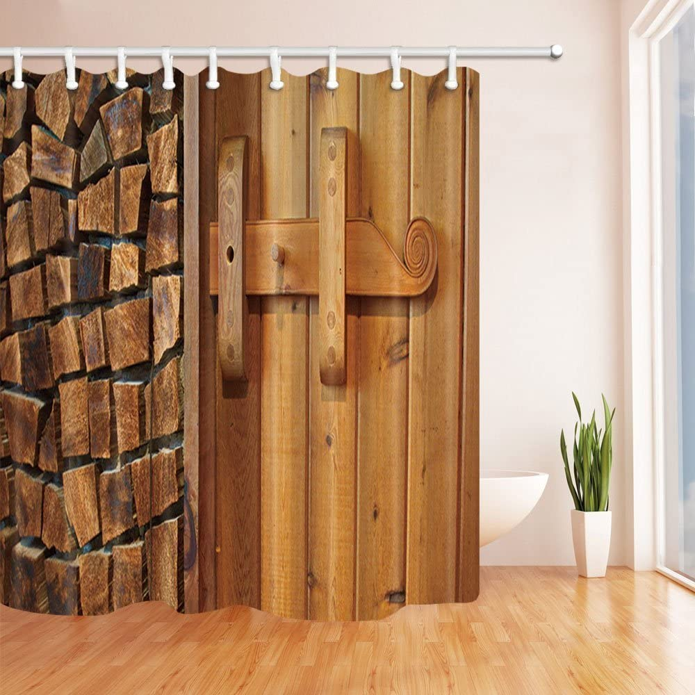 Rustic Wooden Barn Door Decor Bathroom Decor Fabric Shower Curtain Set 71Inch