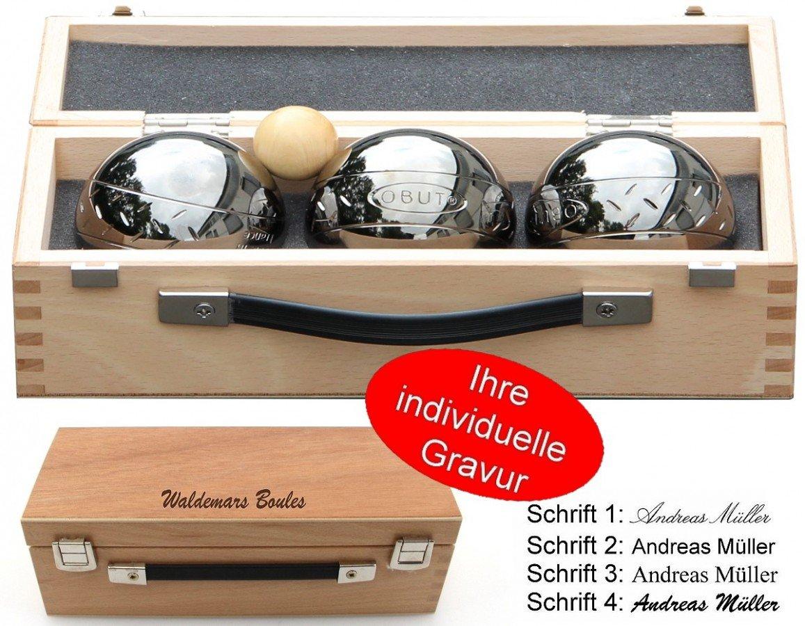 OBUT K3 Strip Design, Boule - Kugel Set, im Holzkoffer mit individueller Gravur