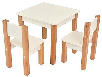 Mesa infantil con 2 sillas - 3 piezas Set: mesa auxiliar para niños - blanco/natural - Mesa + 2 sillas/muebles para niños para chicos y chicas: Amazon.es: ...