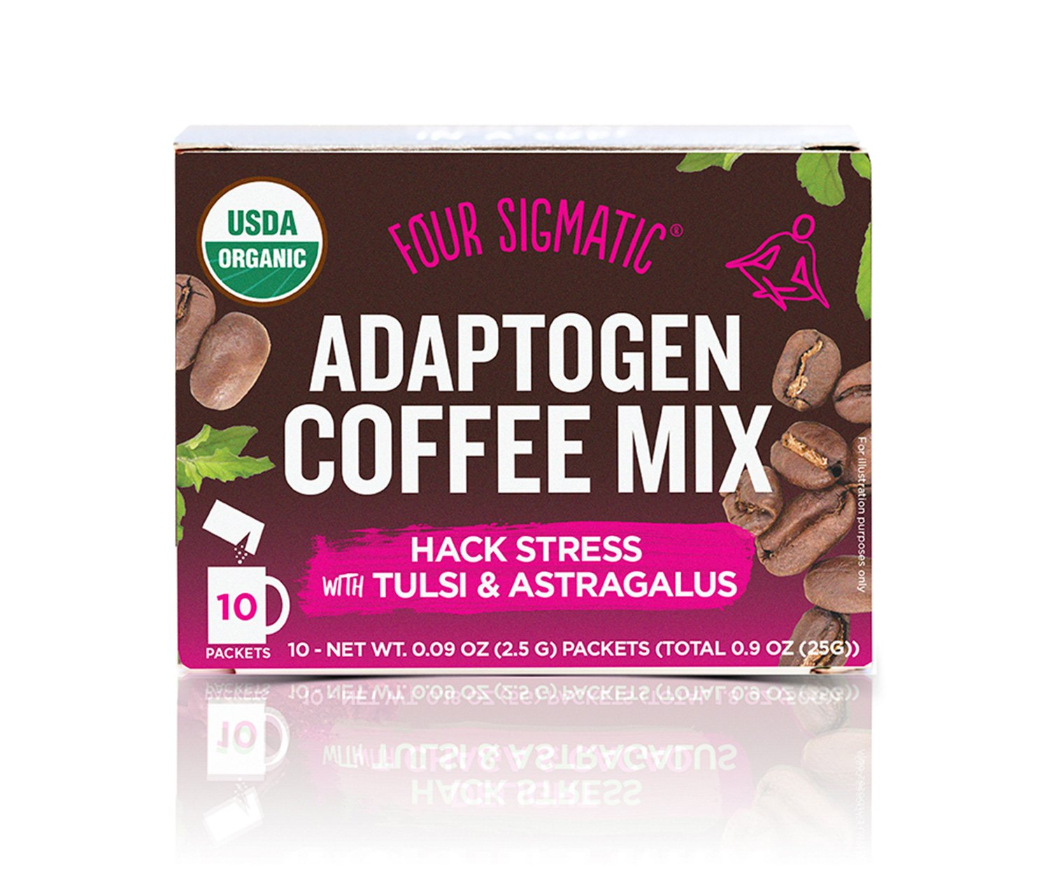 Four Sigmatic Adaptogen Coffee, USDA Organic Coffee with Tulsi and Astragalus, Hack Stress, Organic, Vegan, Paleo, 10 Count
