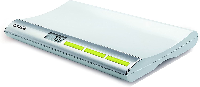 Báscula digital para pesar bebés Laica PS3001 hasta 20 kg, Color plata. Con función bloqueo y tara.