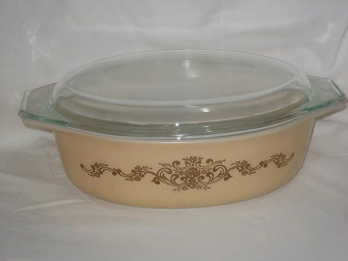Vintage PYREX Golden Honeysuckle 2.5 Qt Promotional Casserole Dish with Lid