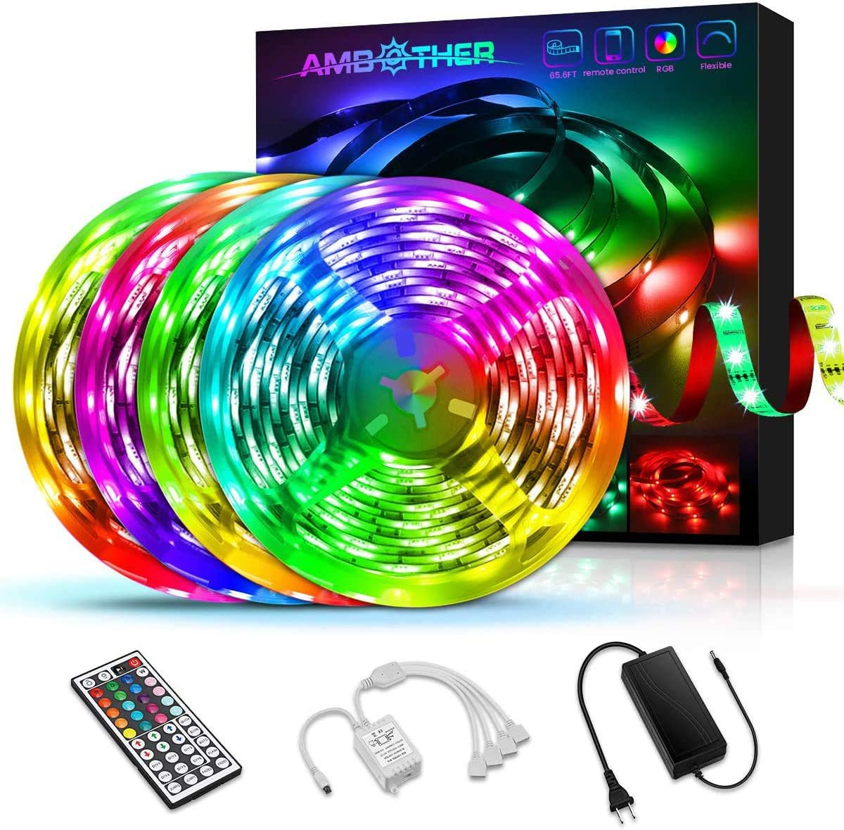 AMBOTHER RGB LED Strip Lights for Bedroom 65.6FT/20M Light Strips 44 Key Remote Controller Color Changing 5050 SMD Neon Flexible Tape Rope Lights for Room Kitchen Home Party