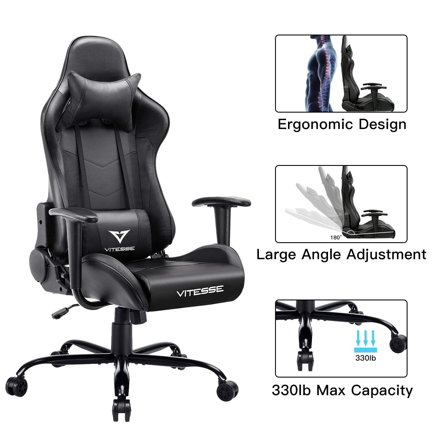 VIT Computer Gaming Chair Racing Style High-Back PC Chair Ergonomic Office Desk Chair Swivel E-Sports Leather Chair with Lumbar Support and Headrest Carbon Fiber Black