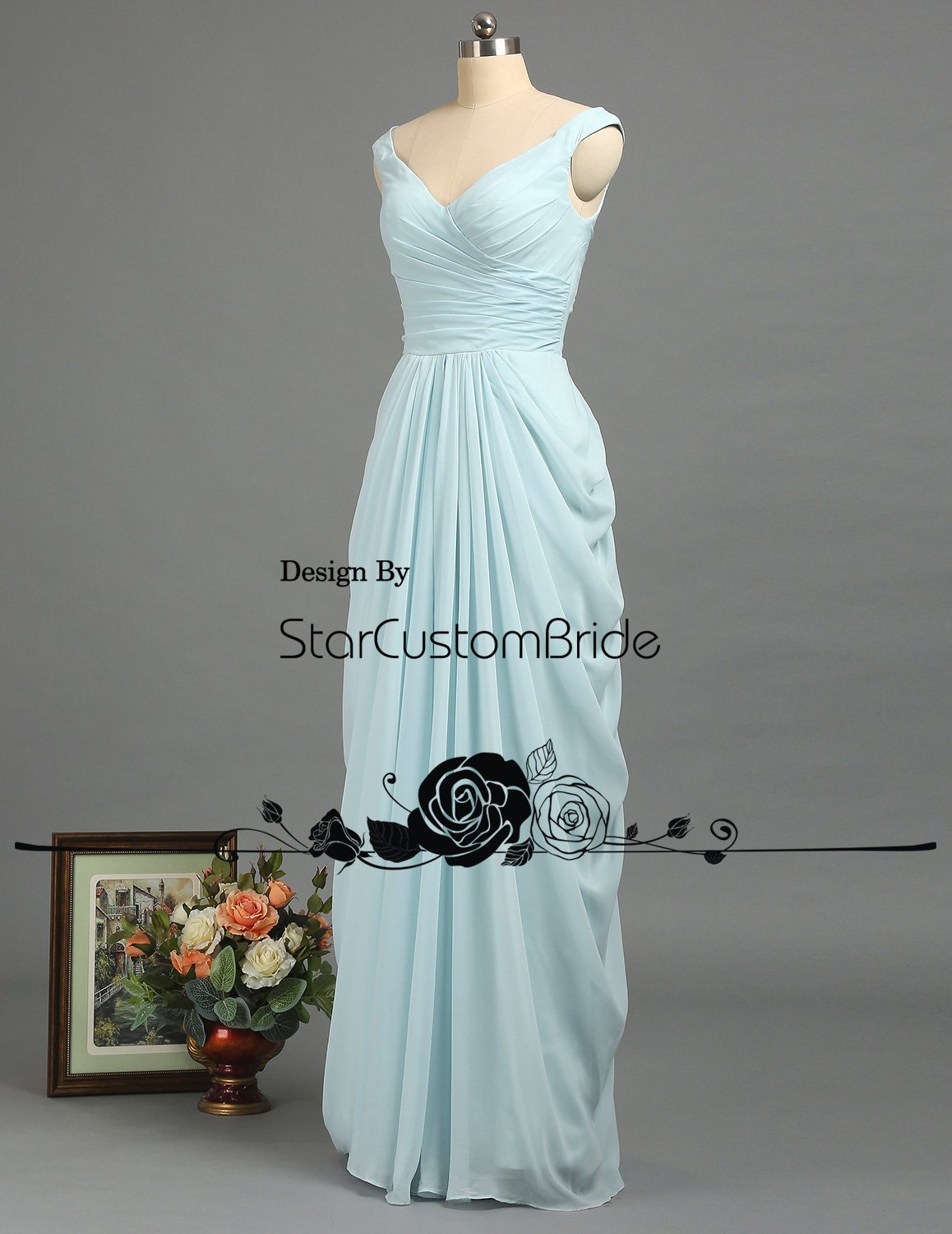 8cc26c8f702 Amazon.com  Dusty Blue Bridesmaid Dress Long Chiffon Prom Dress 2018 V-Neck  Elegant Fall party Dress  Handmade