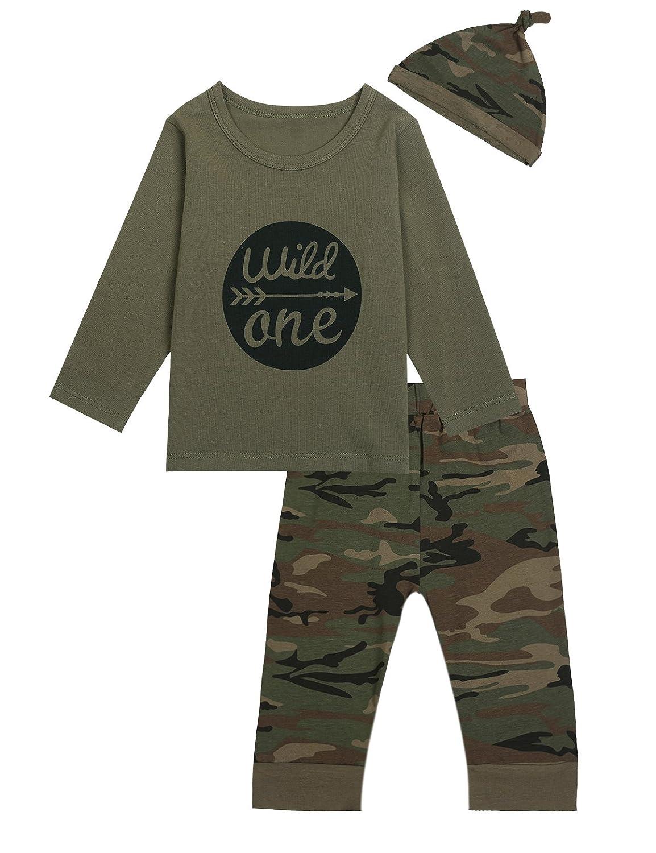 FeiliandaJJ Baby Boys Clothes Set 2Pcs Kids Toddler Cute Letters Print Long Sleeve Tops T-Shirt Camouflage Pants Outfit Suit Halloween Clothes