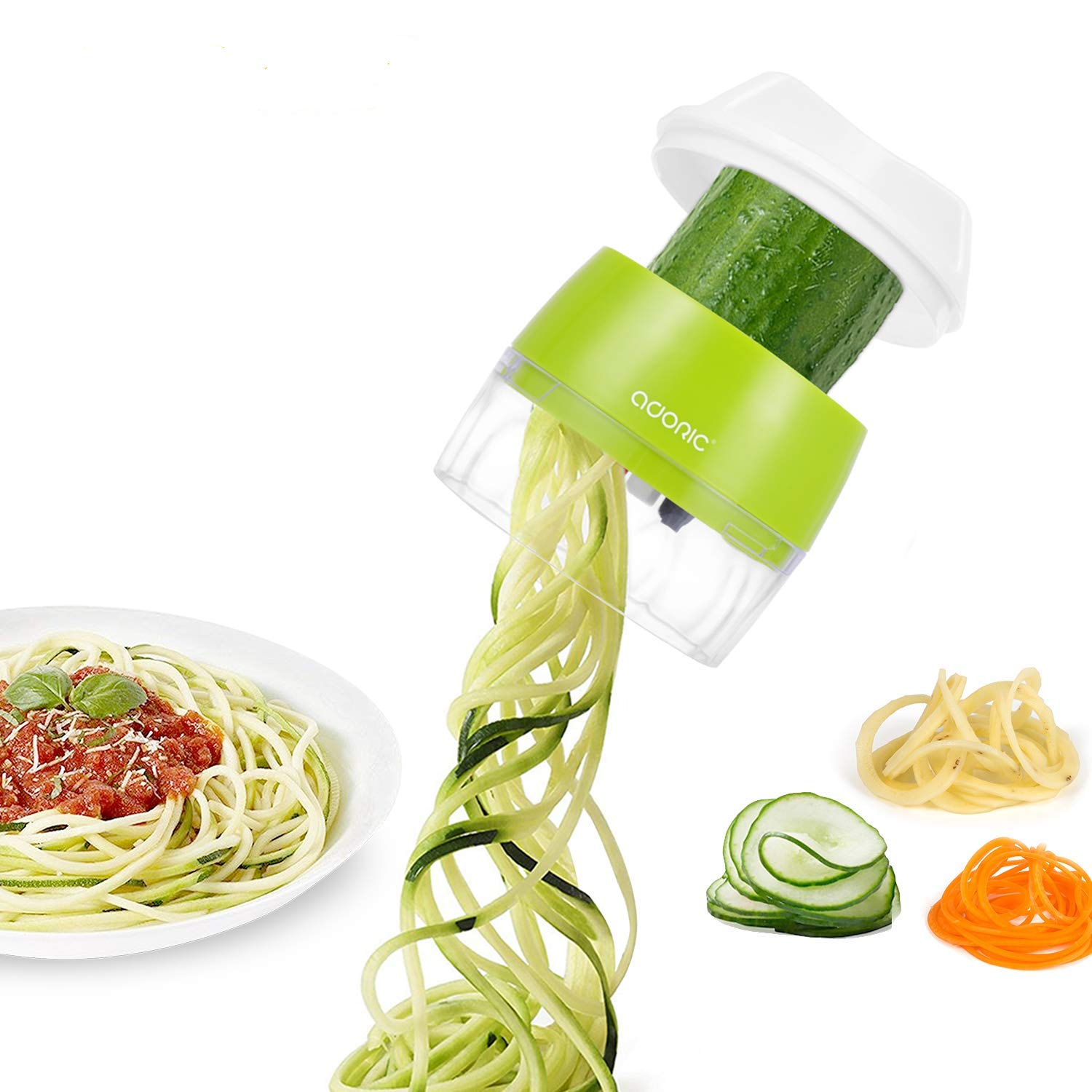 Handheld Vegetable Slicer, Adoric Vegetable Spiralizer Upgraded 4 in 1 Heavy Duty Veggie Spiral Cutter - Zoodle Pasta Spaghetti Maker by Adoric