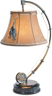 Vintage direct lake trout fishing table lamp amazon the catch of the day fishing reel table lamp with decorative shade aloadofball Image collections