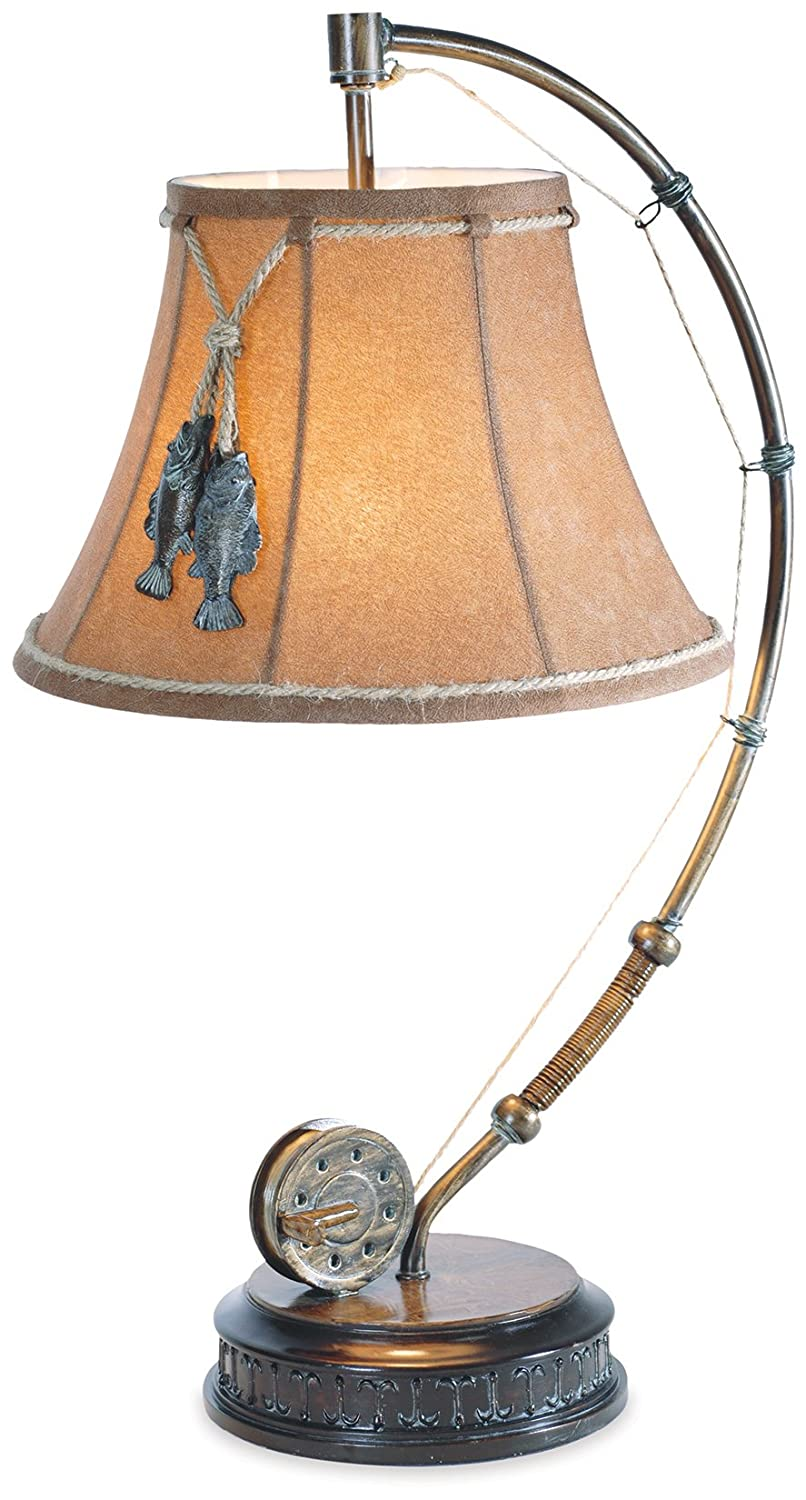 The catch of the day fishing reel table lamp with decorative shade the catch of the day fishing reel table lamp with decorative shade amazon aloadofball Images