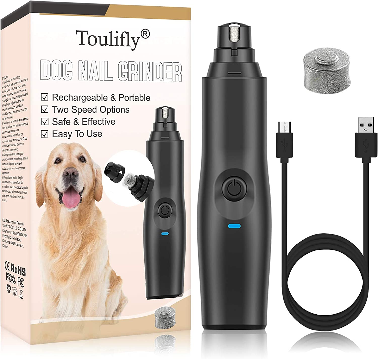 TOULIFLY Dog Nail Grinder, Pet Nail Grinder, Electric Pet Nail Grinder Gentle, Adjustable Power 2 Speed Quiet USB Rechargeable Professional Pet Nail Trimmer Paws Grooming & Smoothing Claw Care