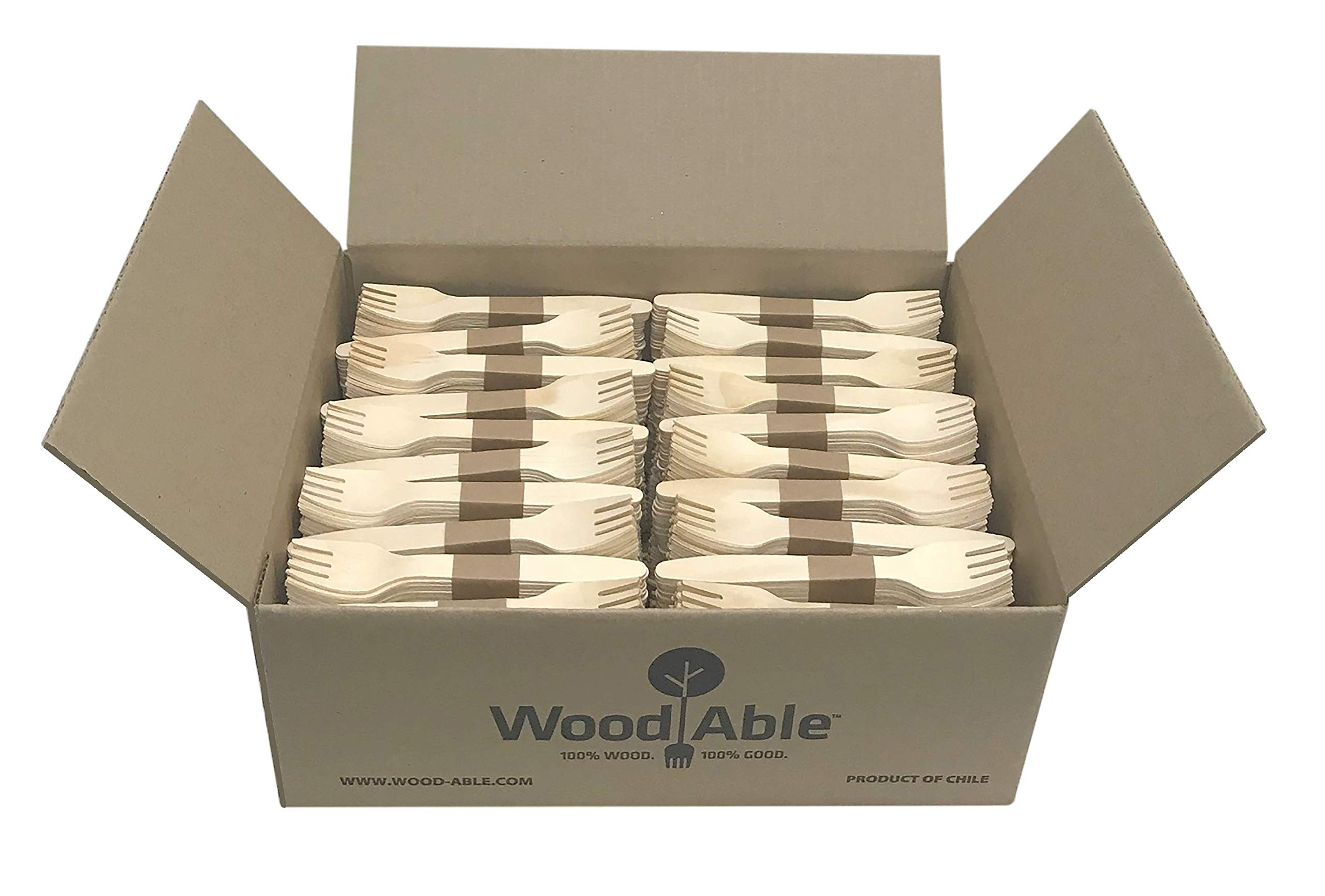 WoodAble - Disposable Wooden Forks | Alternate to Plastic Cutlery - Eco Biodegradable Replacements (1,000 Count) by WoodAble