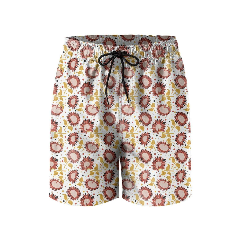 Retro Vintage Summer Sunflowers Floral Man Summer Beach Shorts Cute Beach Shorts Swim