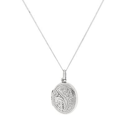 The Olivia Collection Sterling Silver 22mm Oval Engraved Locket on 18