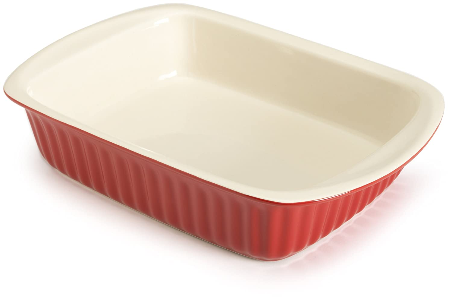 Good Cook 2.5 Quart Rectangle Ceramic Dish, Red