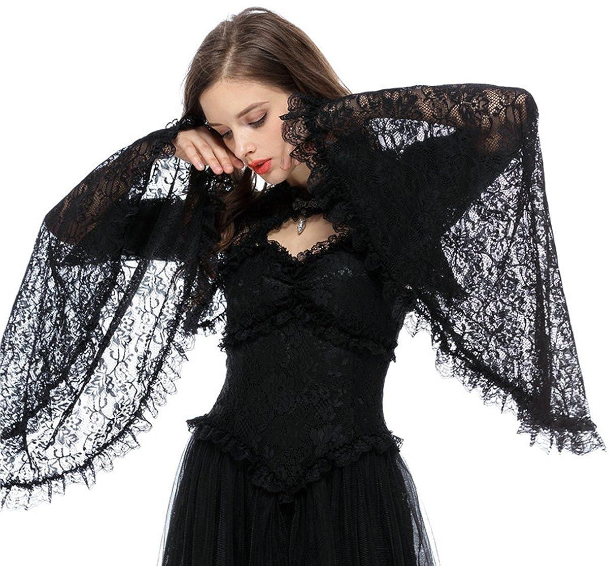 Damen Bolero Jäckchen Spitze mit Trompetenärmel Langarm Gothic Lolita BW040