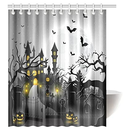 InterestPrint Spooky Concept With Halloween Icons Shower Curtain Creepy Graveyard Castle And Pumpkins Bathroom