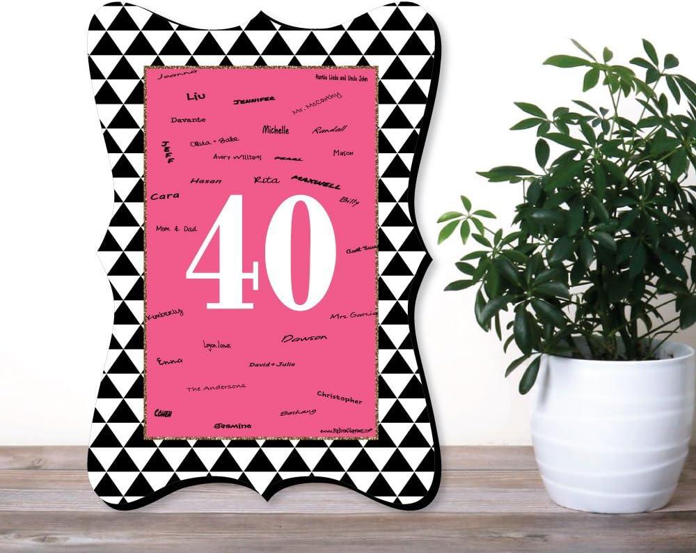 Amazon.com: Chic 40º cumpleaños, color rosa, color negro y ...