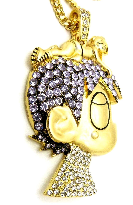 Gwood l uzi cartoon iced out pendant necklace gold color cuban chain gwood l uzi cartoon iced out pendant necklace gold color cuban chain amazon aloadofball Images