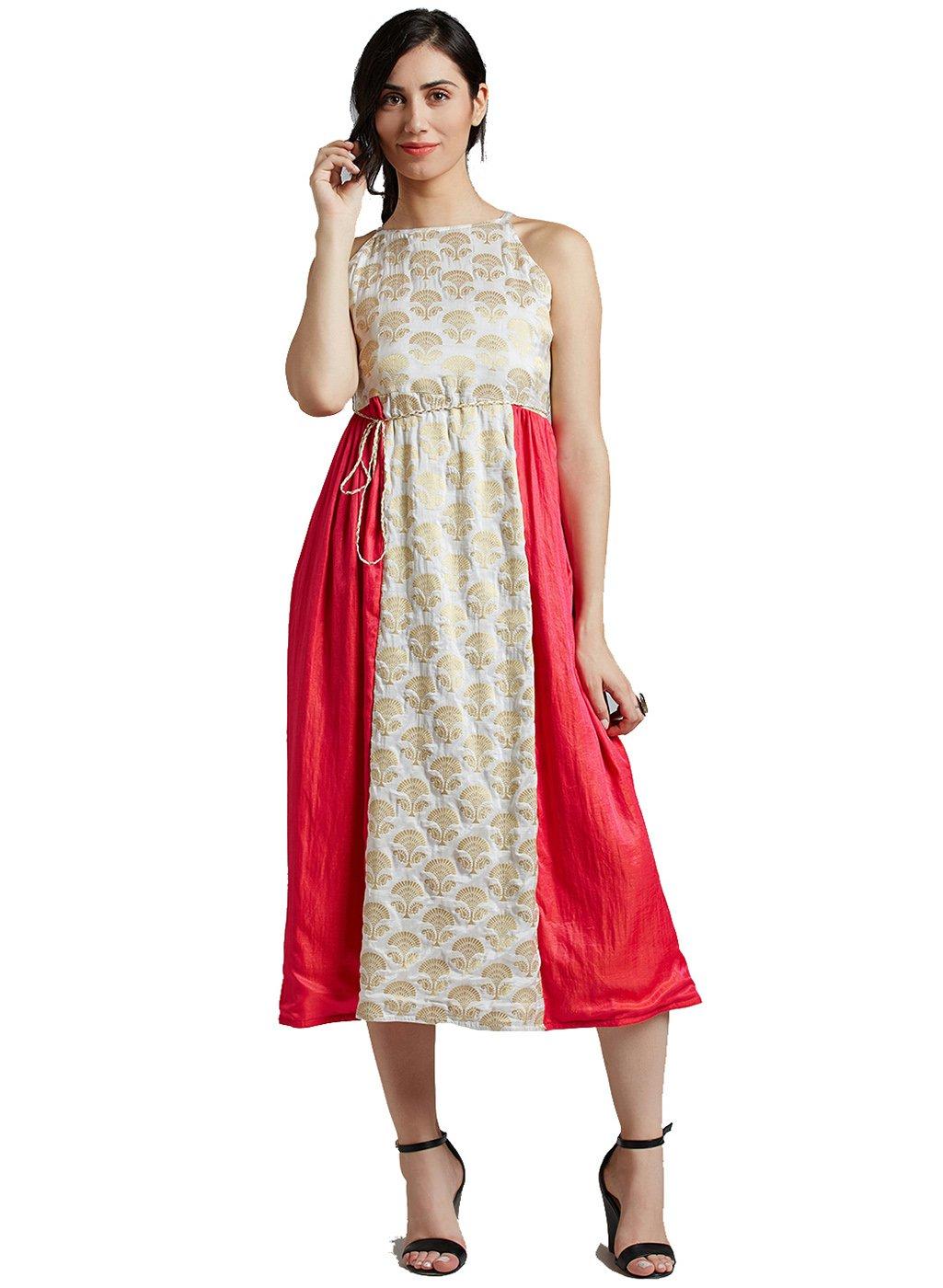 Jaipur Kurti Women's Pure Silk Brocade White & Rani Dress