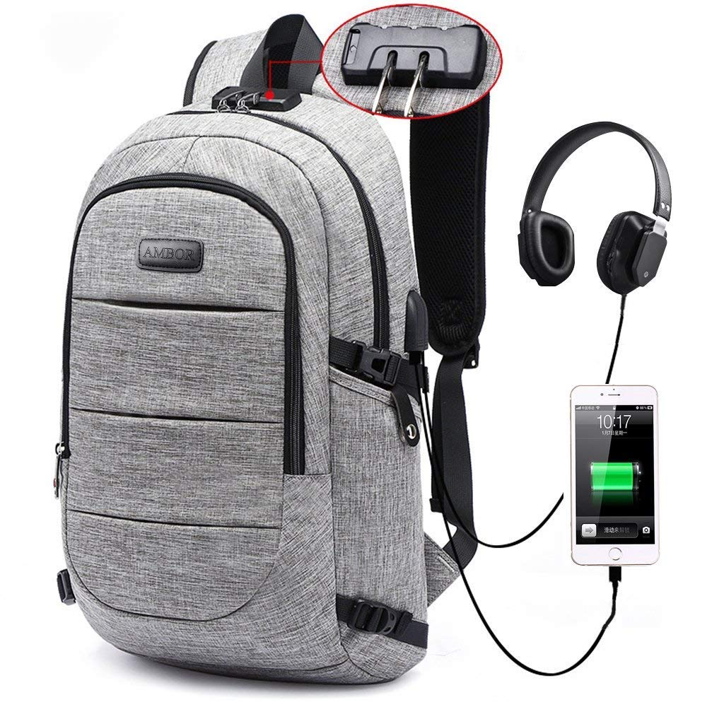 Laptop Backpack, Business Anti Theft Waterproof Travel Backpack with USB Charging Port & Headphone Interface for College Student for Women Men,Fits Under 17-Inch Laptop Notebook (Grey)