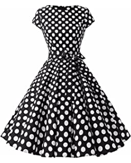 GIKING Womens Vintage Hepburn Cocktail Dress Bridesmaid 1950s Swing Party Dress