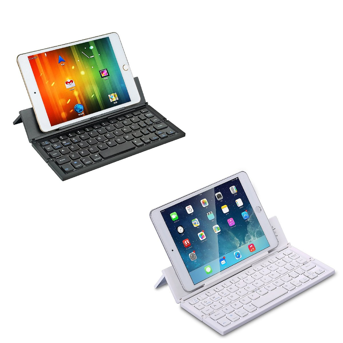 LEANINGTECH Portable Foldable Bluetooth Keyboard Aluminum Metal Collapsible Keypad with Kickstand Holder Phone Holder for iPhone, iPad, Samsung, Android, Windows Device-Black by LEANINGTECH (Image #8)