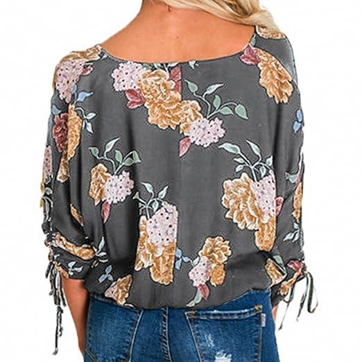 Ropa Camisetas Mujer, Camisas Mujer Elegantes Casual con Estampado Floral Camisetas Mujer con Cordones Laterales Camiseta Blusas Tops para Mujer Fiesta en ...