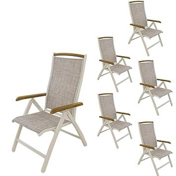 Pack 6 sillones para jardín de Aluminio Blanco y textilene ...