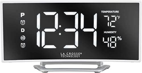 La Crosse Technology 602-249 Curved Mirror LED Alarm Clock with Temperature Humidity with USB, White