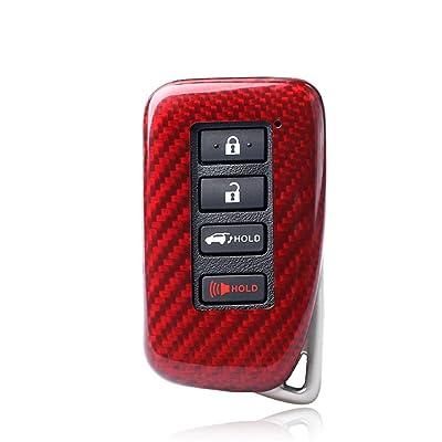 100% Carbon Fiber Case For Lexus Key Fob, Genuine Carbon Fiber Cover For Lexus ES GS IS LX NX RX RC RC-F Smart Keyless Fob Remote Key, Men's Car Key Fob Case Women's Fob Cover - Red - 4 Buttons: Automotive
