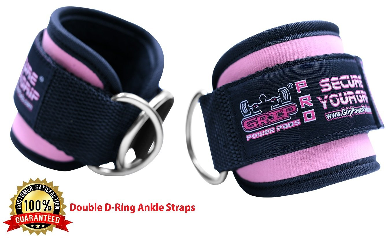 Best Ankle Straps for Cable Machines Double D-Ring Adjustable Neoprene Premium Cuffs to Enhance Legs, Abs & Glutes For Men & Women Grip Power Pads
