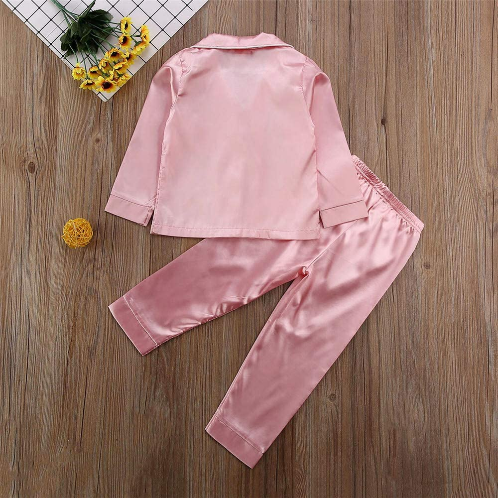 1-2 Years Toddler Baby Girl Satin Silk Pajamas Long-Sleeve Pjs Sleepwear Loungwear Outfit Clothes Set Pink