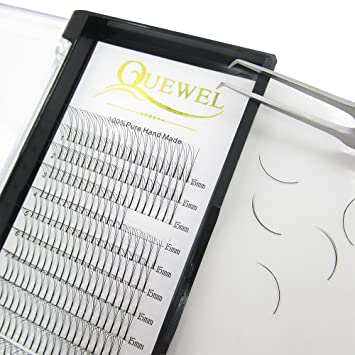 fe1652663be Amazon.com : Quewel Lash Russian Volume Eyelash Extensions 3D C Curl 8-18mm  Long Thickness 0.07 mm Premade Fans Volume Eyelashes Soft (3D-0.07-C, ...