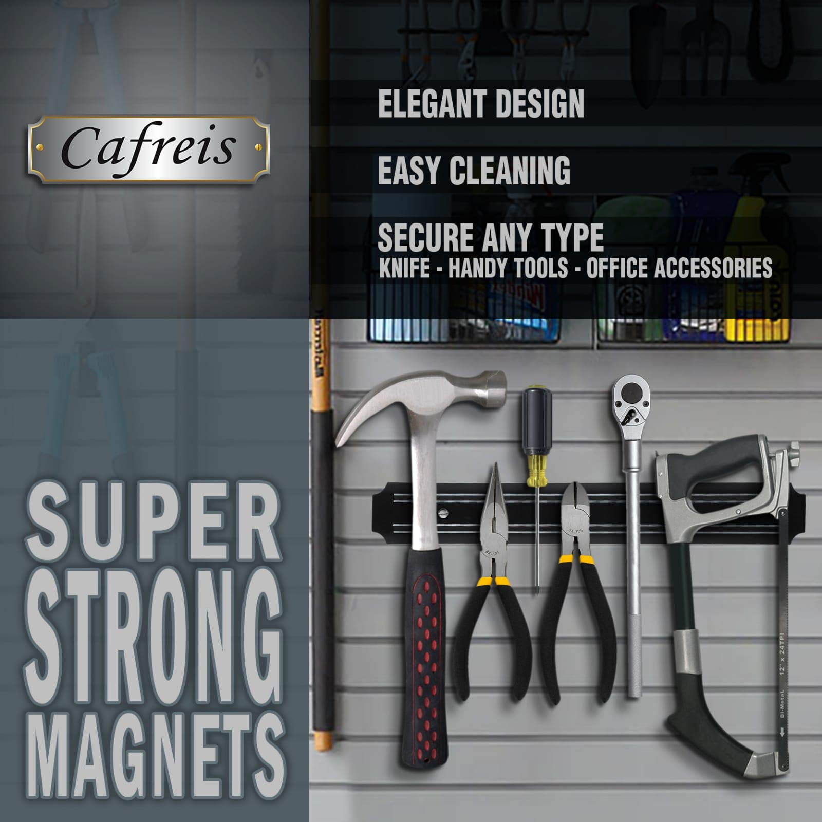 MAGNETO, 13 Inch Plastic Magnetic Knife bar, Knife Holder bar, Magnetic Storage Rack Strip, Magnetic Tool Organizer by Cafreis (Image #6)