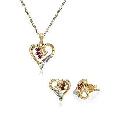 Gemondo 9ct Yellow Gold Ruby /& Diamond Floral Stud Earrings /& 45cm Necklace Set