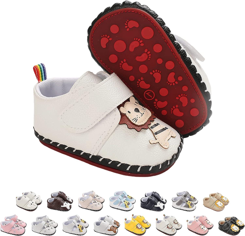 Zapatos de Bebé Lindos Zapatillas Deportivas, Antideslizantes Cuero Suave de PU Recién Nacidos Primeros Pasos Calzado para Niños y Niñas