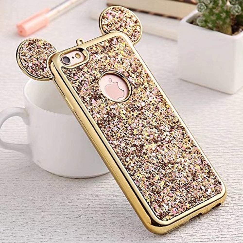 Luxury Glitter Case for Samsung Galaxy S9,Aoucase Bling Diamond Cute Cartoon 3D Mouse Ears Design Soft TPU Electroplate Bumper Drop Protection Case with Black Dual-use Stylus,Gold