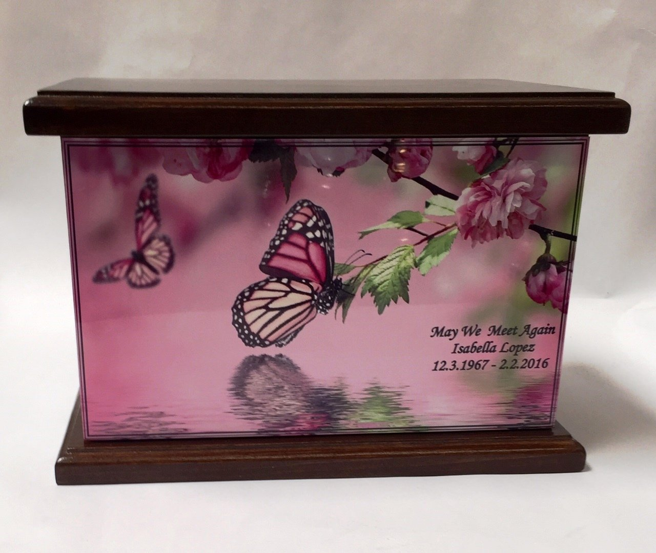 NWA Cremation Urn, Wood Funeral Urn, Butterfly and Flowers Wooden Urn with Engraving