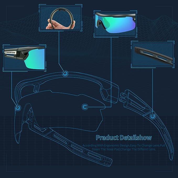 TOREGE, occhiali da sole polarizzati, occhiali da running, per uomo, ciclismo, pesca, golf, TR033, Transparent Grey/Black tips&Green lens