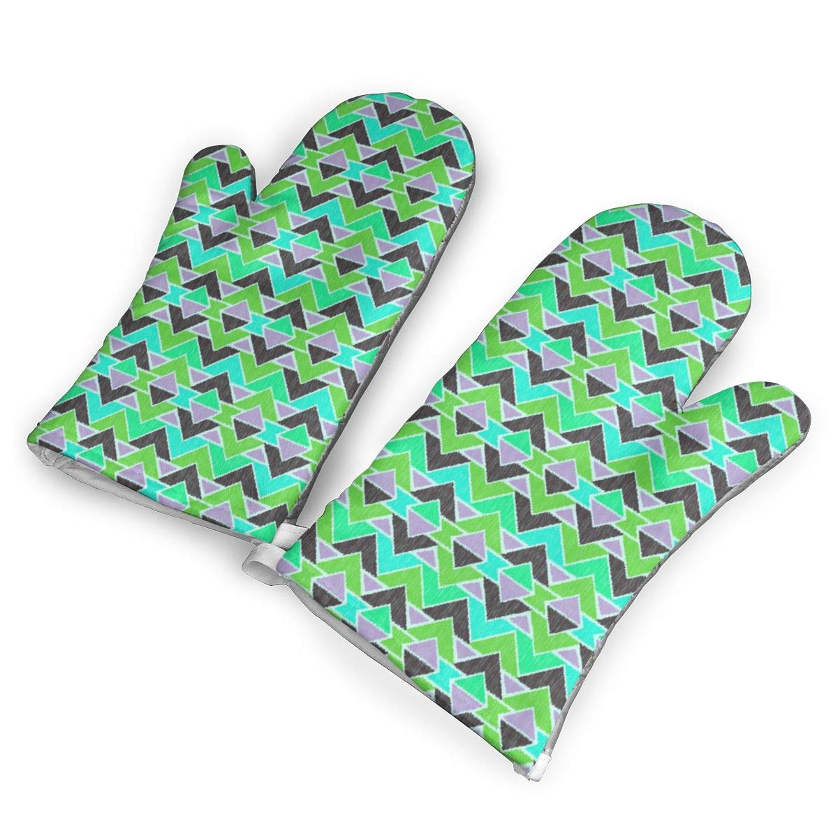 Oven Mitts 5.5 X 12 In Sequoyah Arrows Ikate Color Non-Slip Kitchen Oven Gloves Heat Resistant Washable Cotton Lining by KIXYOUHUU