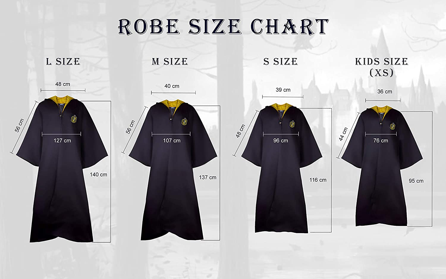 Authentic Official Tailored Wizard Robes Cloak Cinereplicas Harry Potter Robe Adults and Kids Size