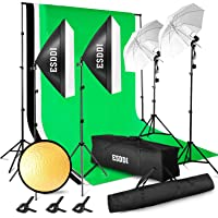 ESDDI Lighting Kit Adjustable Max Size 2.6Mx3M Background Support System 3 Color Backdrop Fabric Photo Studio Softbox Sets Continuous Umbrella Light Stand with Portable Bag