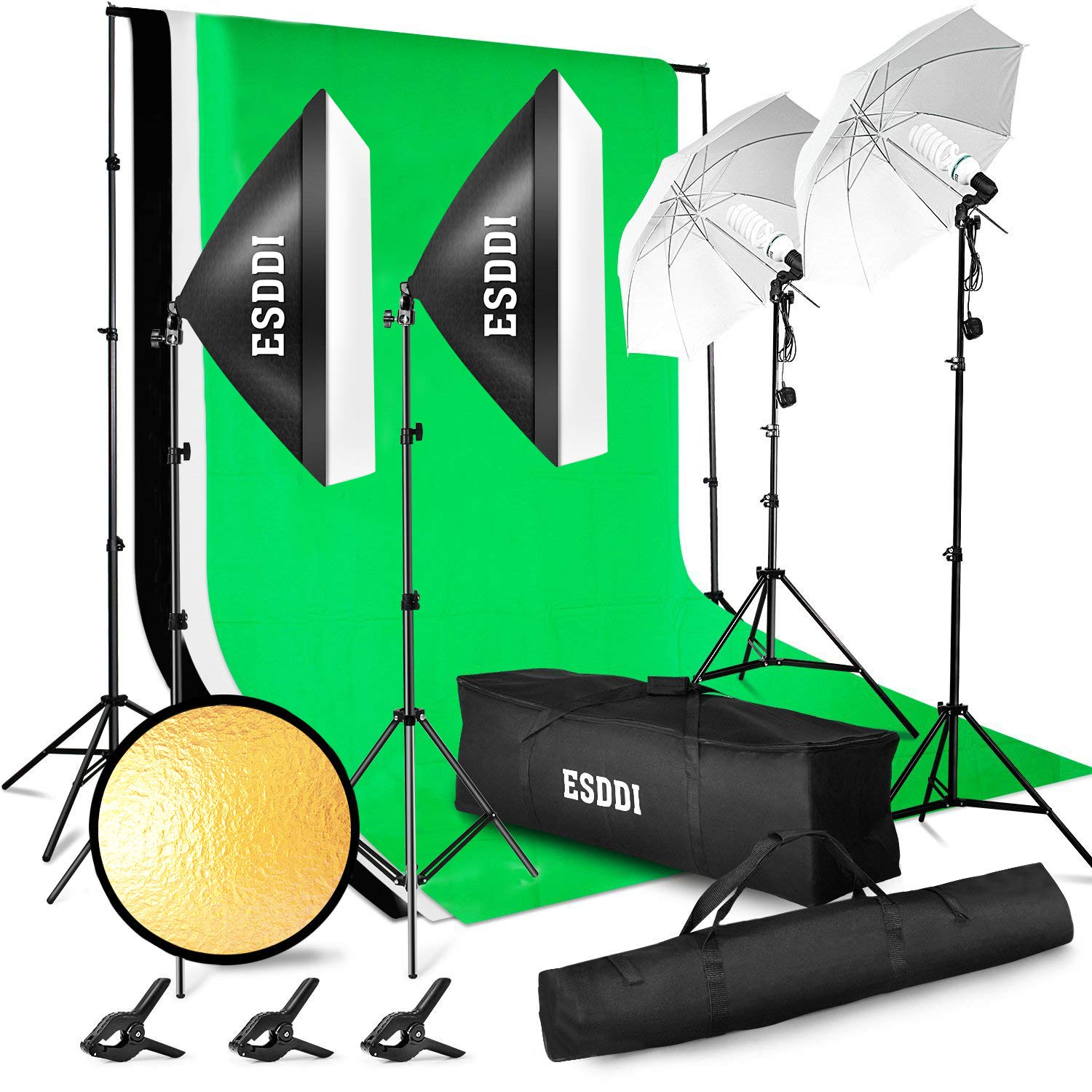 ESDDI Lighting Kit Adjustable Max Size 2.6Mx3M Background Support System 3 Color Backdrop Fabric Photo Studio Softbox Sets Continuous Umbrella Light Stand with Portable Bag by ESDDI