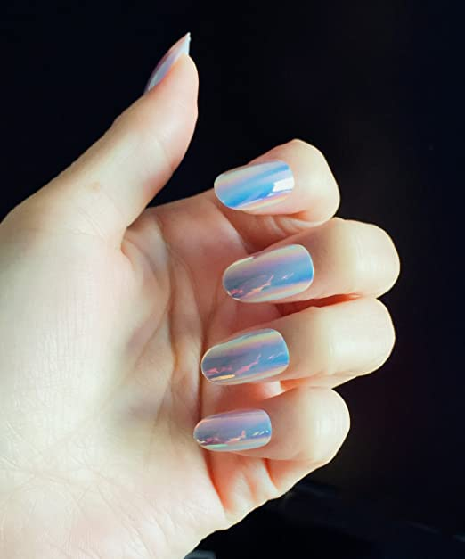 Amazon.com : YUNAI Oval Fake Nails with Shell Surface Colorful design False nail Tips : Beauty